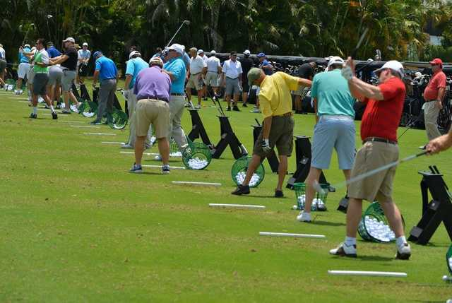 A view of the driving range tees at Boca West Country Club