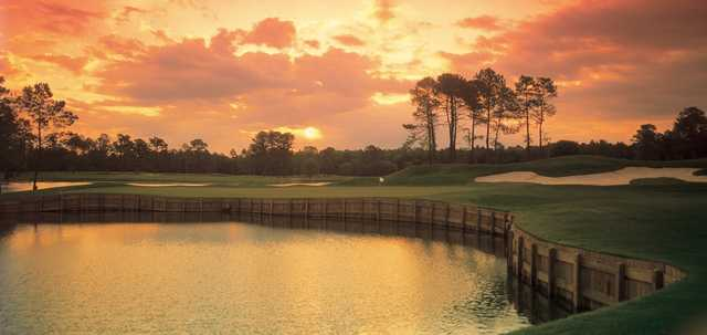 A view of a green protected by bunkers at King's North Course from Myrtle Beach National Golf Club