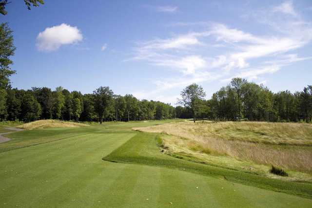A view from a tee at Mystic Pines Golf & Country Club
