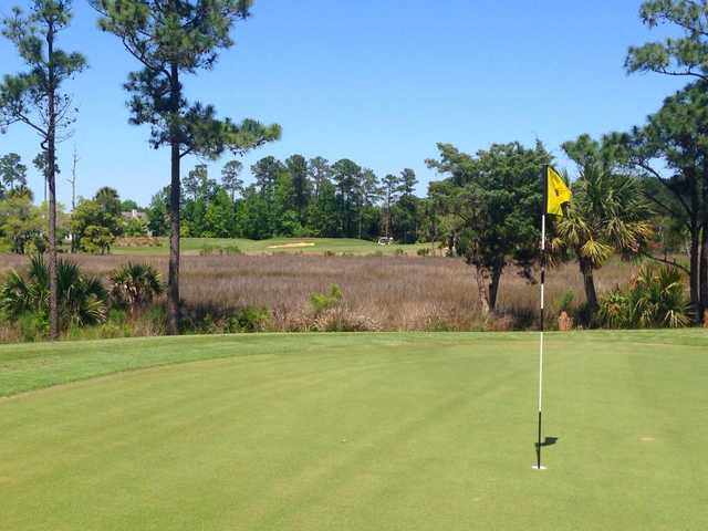 A view from the 10th green looking back to hole #2 at RiverTowne Country Club