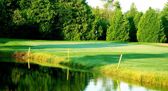 A view over the water of the 15th green at Cedarhurst Golf Club