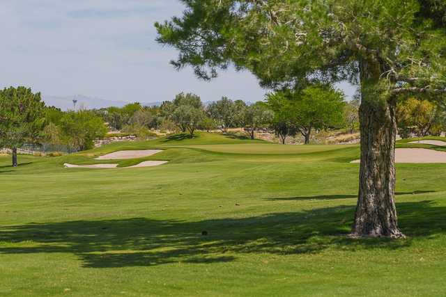A view of a green protected by tricky bunkers at TPC Summerlin