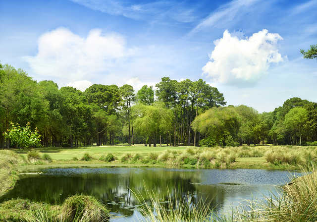 A view over the water of hole #1 from Planter's Row at Port Royal Golf Club