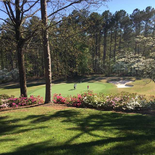 A spring day view of a hole at Keowee Key Golf & Country Club