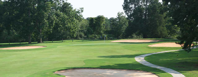 A view of a hole protected by bunkers at Milledgeville Country Club