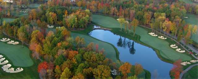 Aerial view of the 18th and 9th holes at Thundering Waters Golf Club