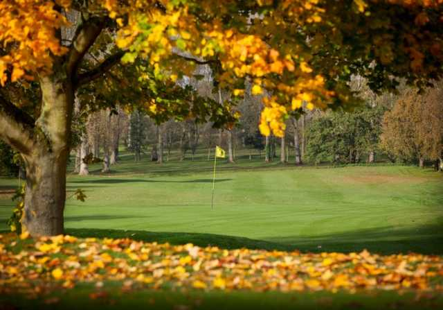 A fall day view of a hole from Valley Course at Barnham Broom Hotel
