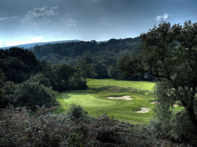 A view of a hole protected by bunkers at Bovey Castle
