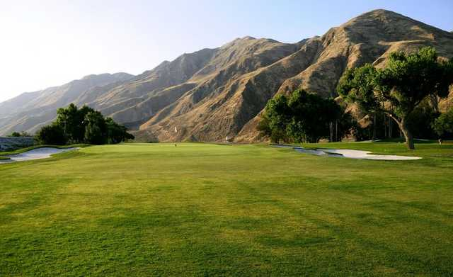 A view of the 6th green at Soboba Springs Golf Course.