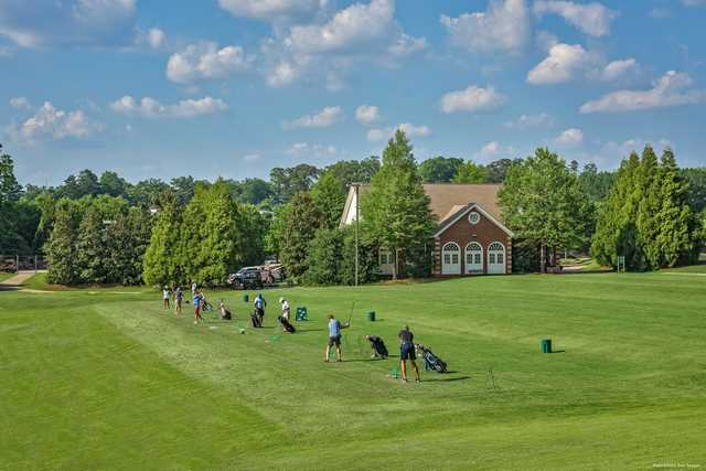 A view of the practice range at Charlie Yates Golf Course