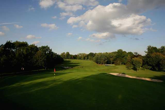 A sunny day view of a hole at Leicestershire Golf Club