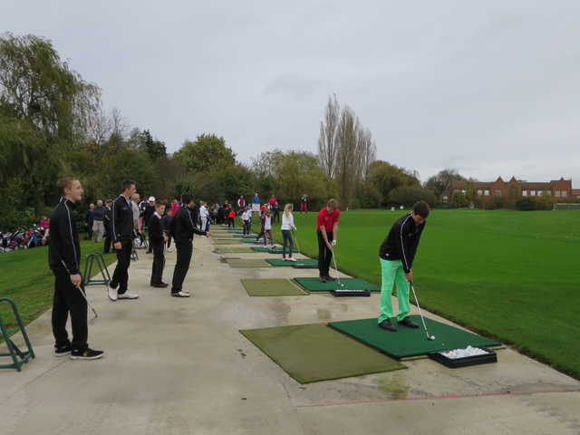 A view of the driving range tees at Letchworth Golf Club