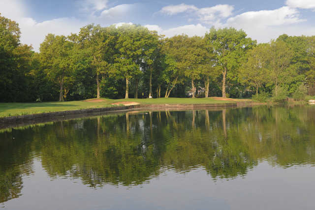 A view over the water of green #16 at Wanstead Golf Club