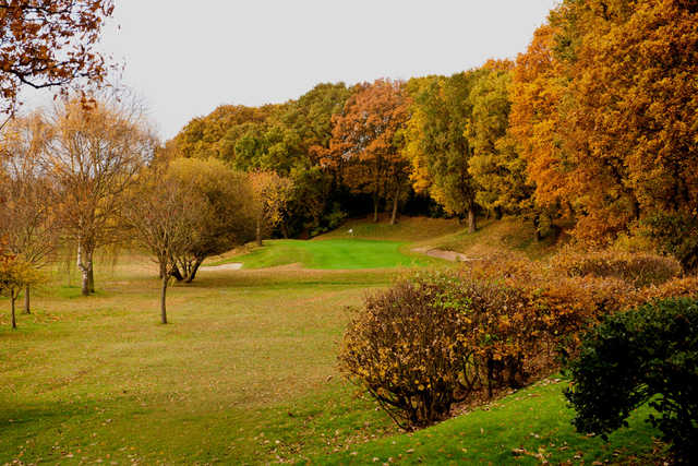 Autumn foliage surrounding hole #15 at Wanstead Golf Club