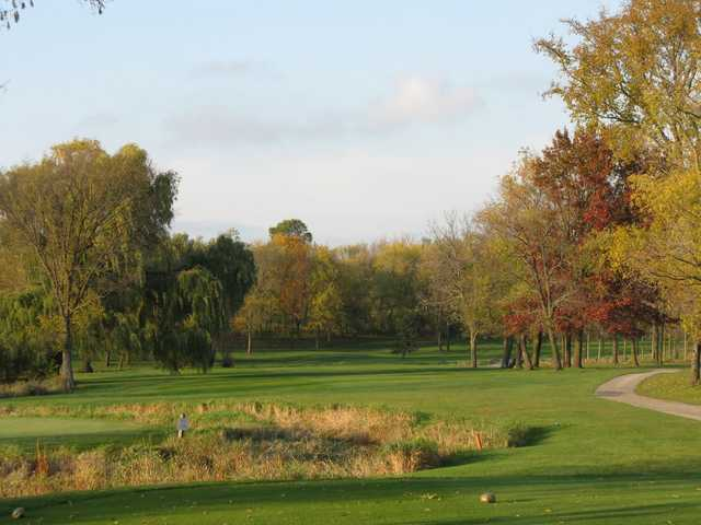 A fall view from the  Island 11th tee at Silver Spring Country Club