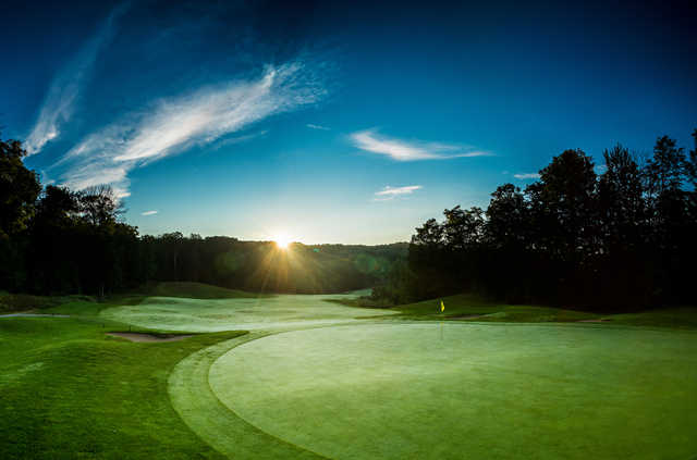 Sunrise over 11th green at The Legend at Shanty Creek