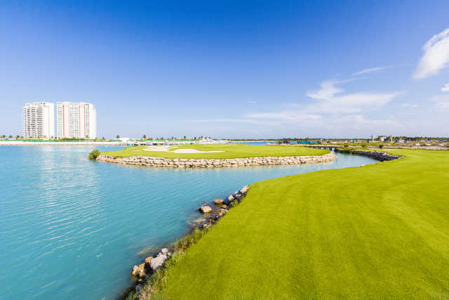 View of an island green at Puerto Cancun Golf Club