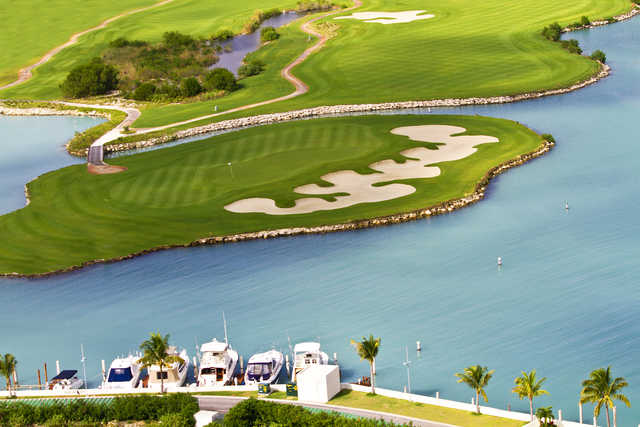 Aeria view of an island green at Puerto Cancun Golf Club