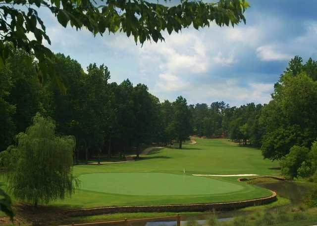 Looking back from a green at Harbor Club on Lake Oconee