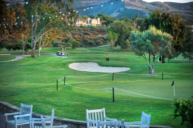 A view of the 18th hole at San Juan Hills Golf Club