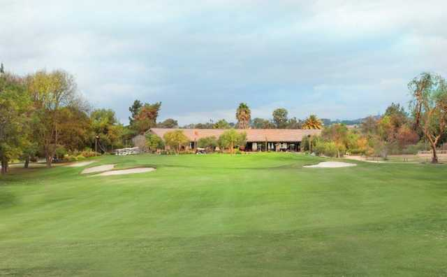 A view of the finishing hole and the clubhouse at San Juan Hills Golf Club