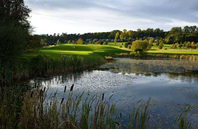 View of a green over water at Belton Woods Golf Club