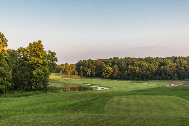 A view the 15th tee at Championship Golf Course from Chatham Hills
