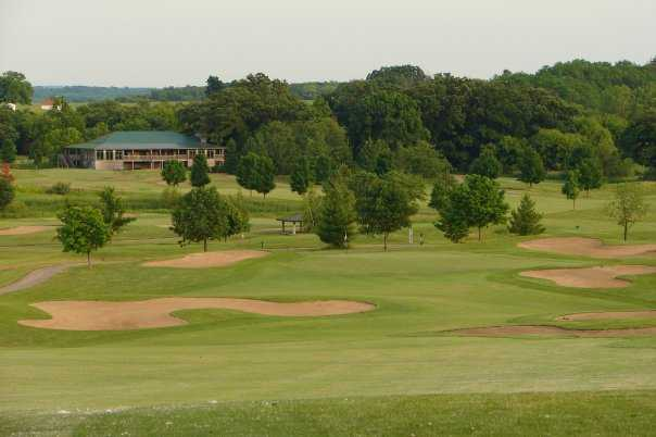 A view of hole #6 surrounded by bunkers at Oak Grove Golf Course
