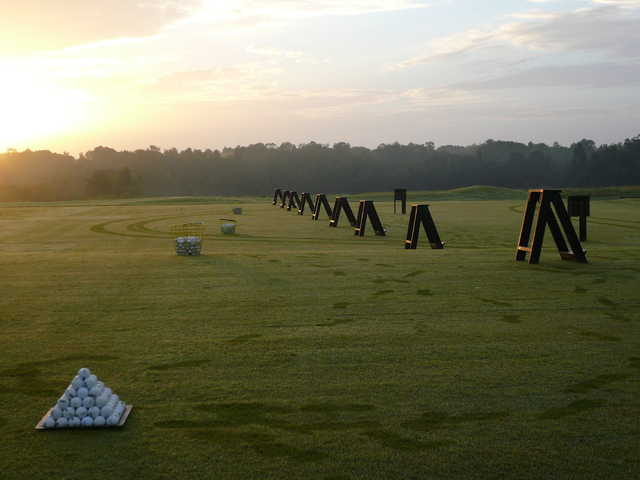 A view of the driving range at Providence Golf Club