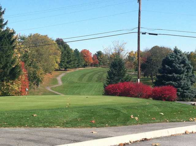 A fall day view of a hole at Valley Green Golf Course