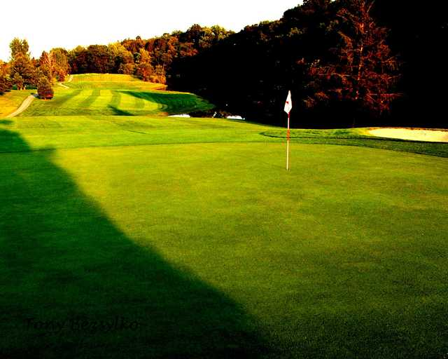 A fall day view of hole #4 at Manada Golf Club