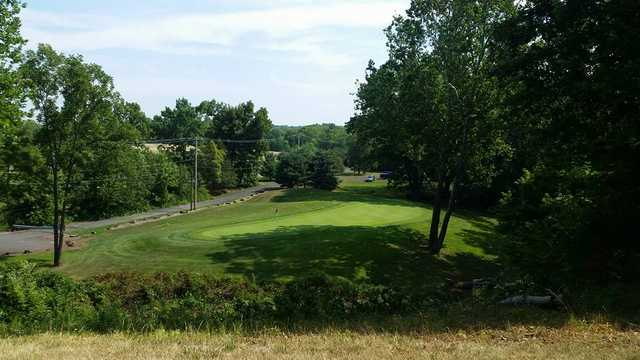 A view of a green at Macoby Run Golf Course