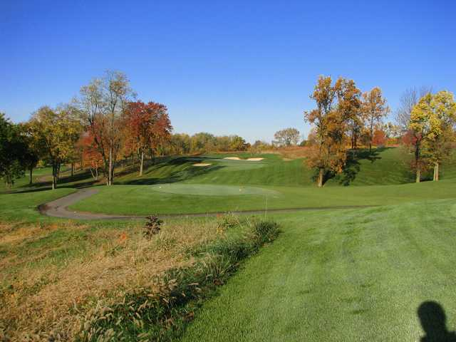 A fall day view of a tee at Dauphin Highlands Golf Course