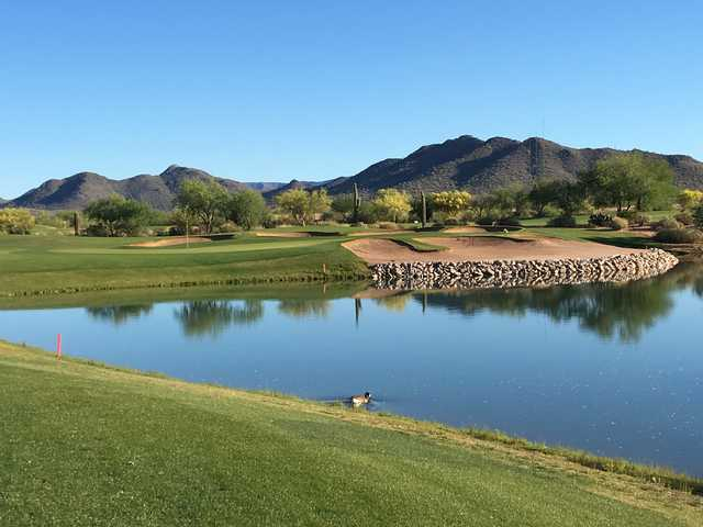 View of the finishing hole at Dove Valley Ranch Golf Club