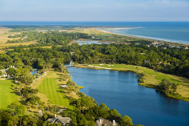 Aerial view of holes #10 & #18 from Osprey Point at Kiawah Island Golf Resort