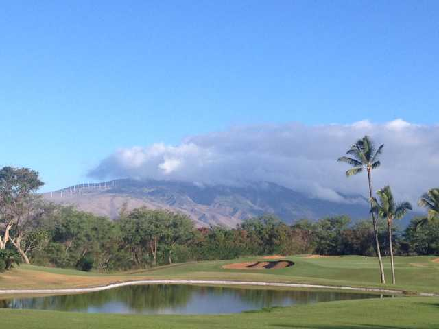 View of the pond near the 9th hole at Maui Nui Golf Club