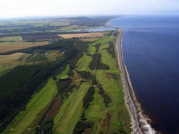 Aerial view of Spey Bay Golf Club