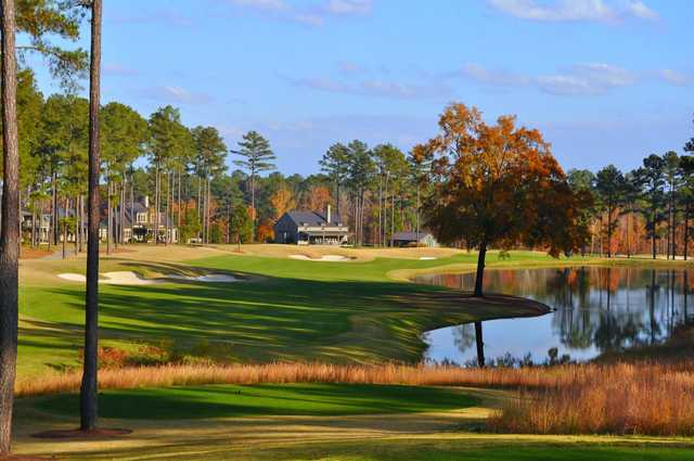 A splendid fall day view from a tee at Champions Retreat Golf Club
