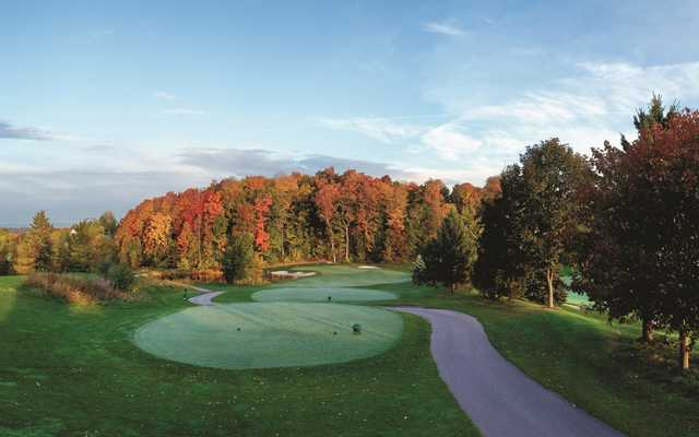 A fall day view of a tee at The Wolverine Course from Grand Traverse Resort & Spa