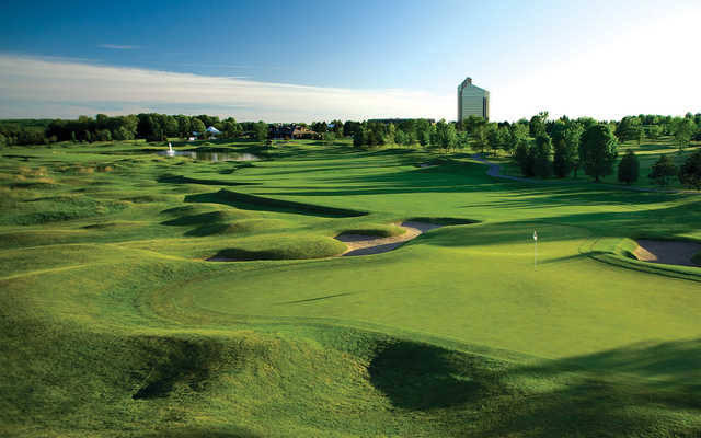 A view of hole #1 at The Bear Course from Grand Traverse Resort & Spa