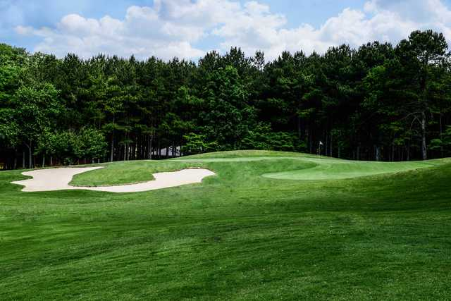 A view of the 18th green at Nob North Golf Course