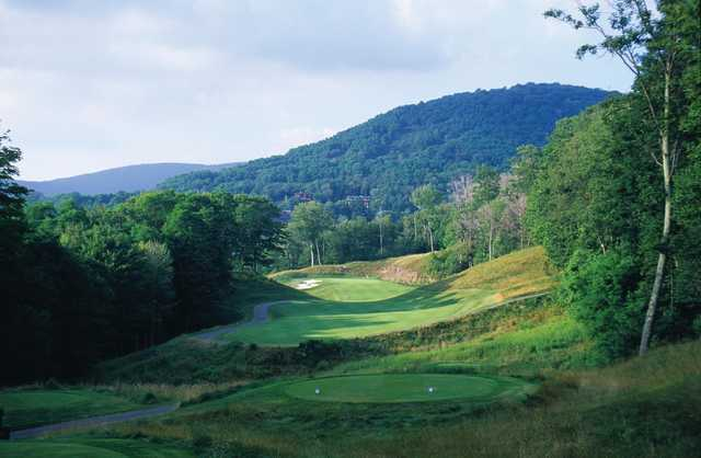 A view from a tee at Raven Golf Club from Snowshoe Mountain
