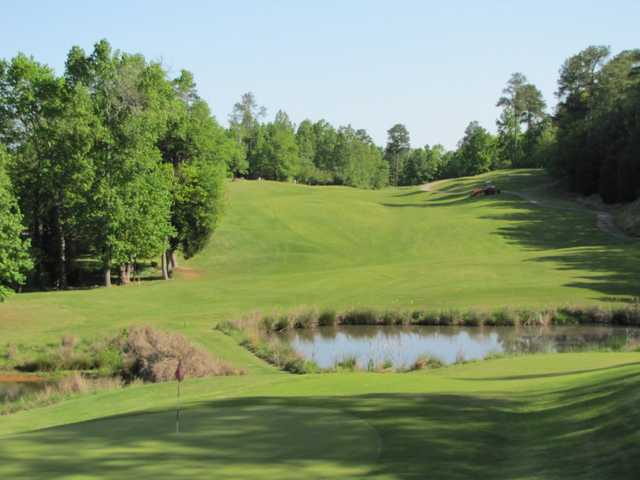 A sunny day view of a green with water coming into play at River Falls Plantation