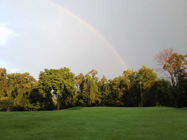The rainbow over hole #14 at 3 Lakes Golf Course
