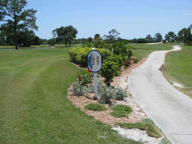 A view of tee #9 sign at Osprey from Burnt Store Marina & Country Club