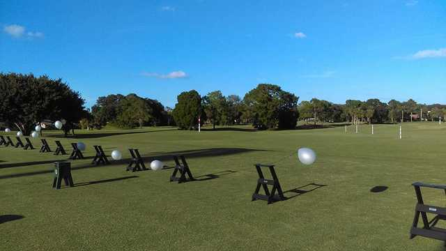 A view of the driving range at The Meadows Country Club