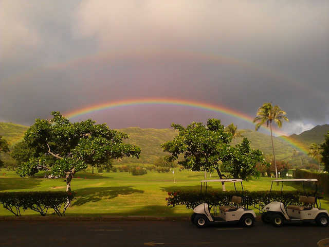 Double rainbow over a green at Hawaii Kai Golf Course