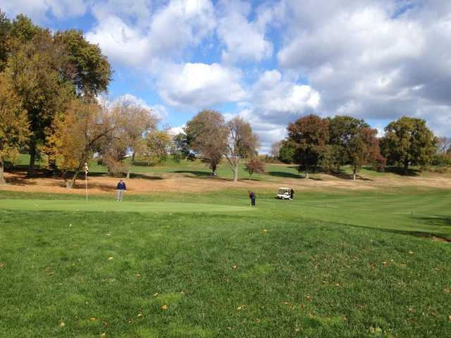 A fall day view of a green at Kissena Park Golf Course (David Dorion)