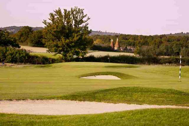 A view of a bunkered green from the Boleyn Course at Hever Castle Golf Club