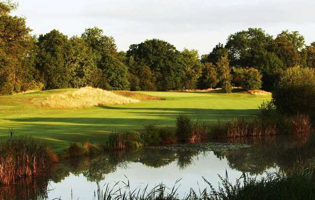 Looking over the water to the 5th green on the Boleyn Course at Hever Castle Golf Club